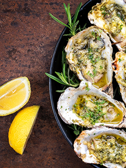 Herb Butter Grilled Peconic Gold Oysters