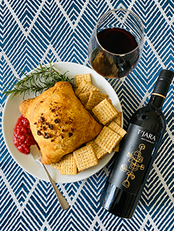 Rhubarb Jam Baked Brie with Merlot